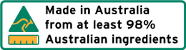 Made in Australia from at least 98 percent Australian ingredients